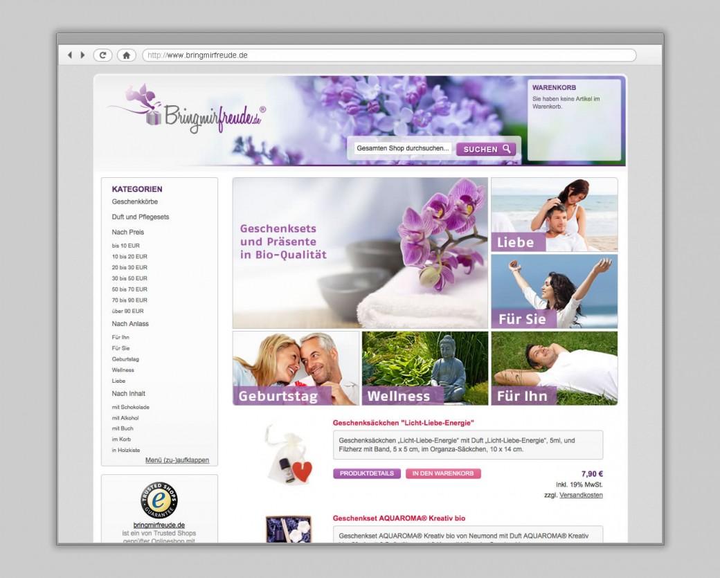 Onlineshop Gestaltung für Bringmirfreunde.de