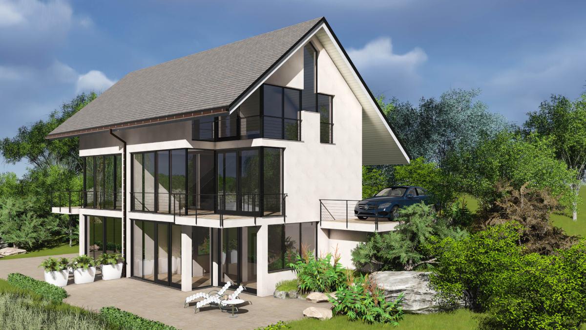 3D CAD Gebäude Illustration und Bildbearbeitung