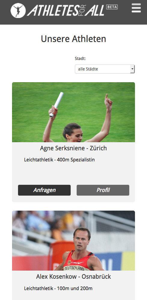 Responsive Webdesign Athletesforall
