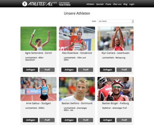 Athleten Profile von Athletesforall