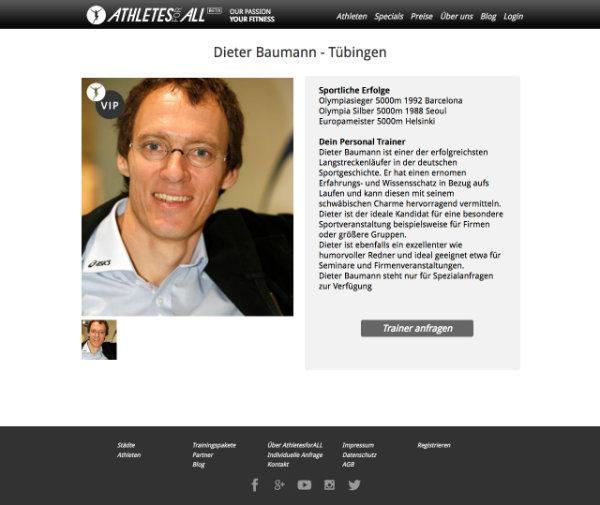 Trainer Profil Dieter Baumann bei A4A