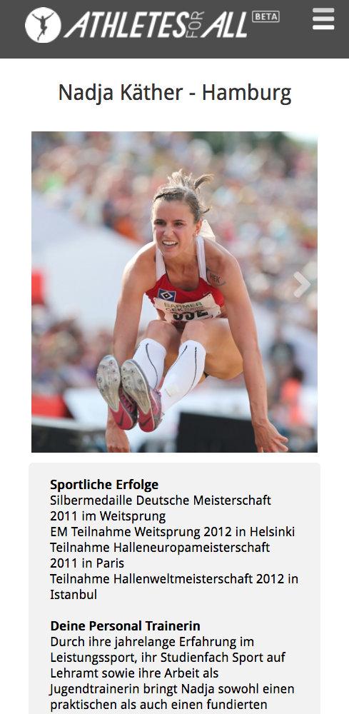 Athletesforall Profil mobile Website