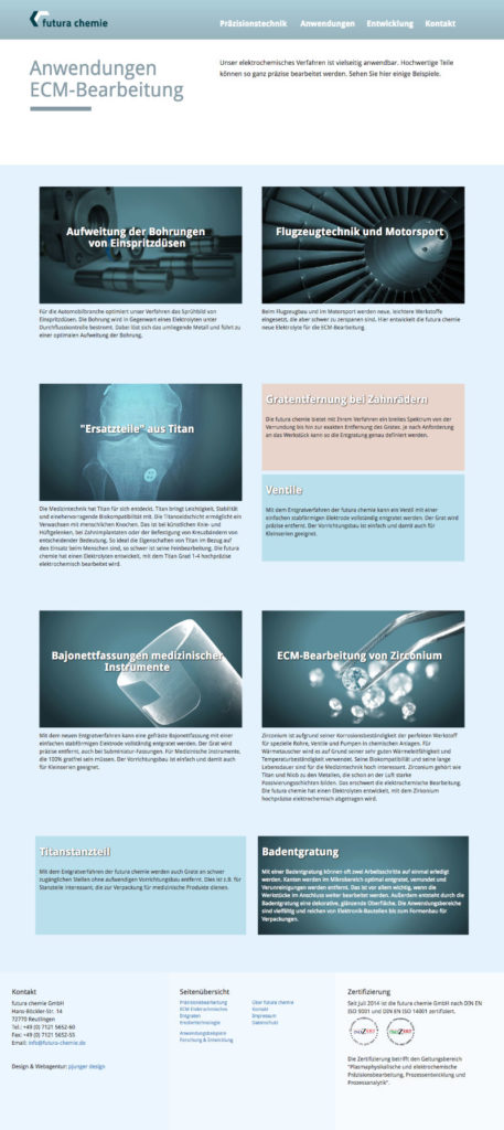 futura chemie Webdesign