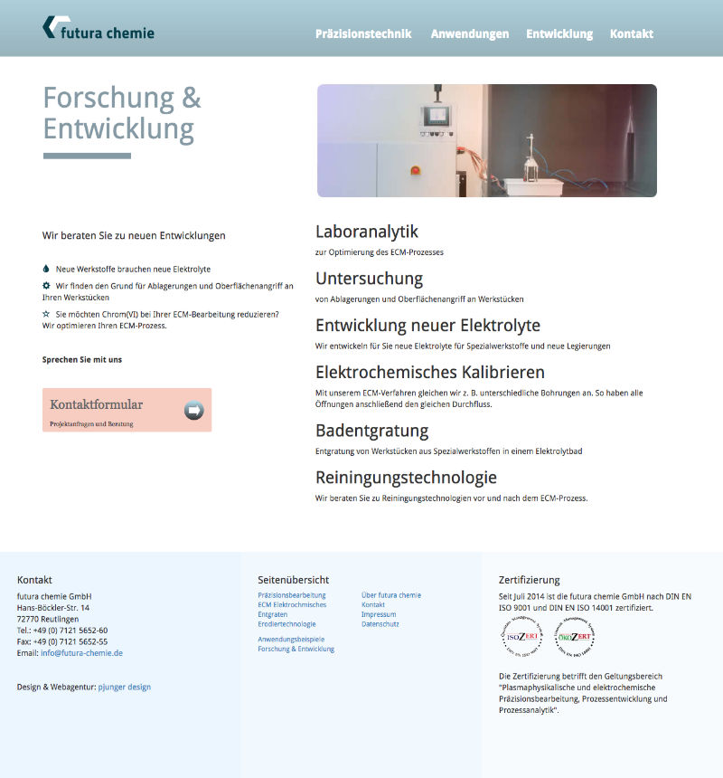 Webdesign für Forschung und Entwicklung