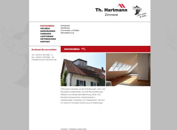 Webdesign für die Zimmerei Hartmann Tübingen