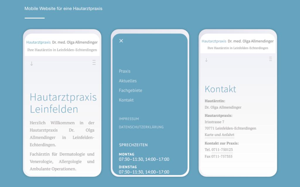 Websitegestaltung für die Hautarztpraxis Leinfelden. Webprogrammierung im Responsive Webdesign.