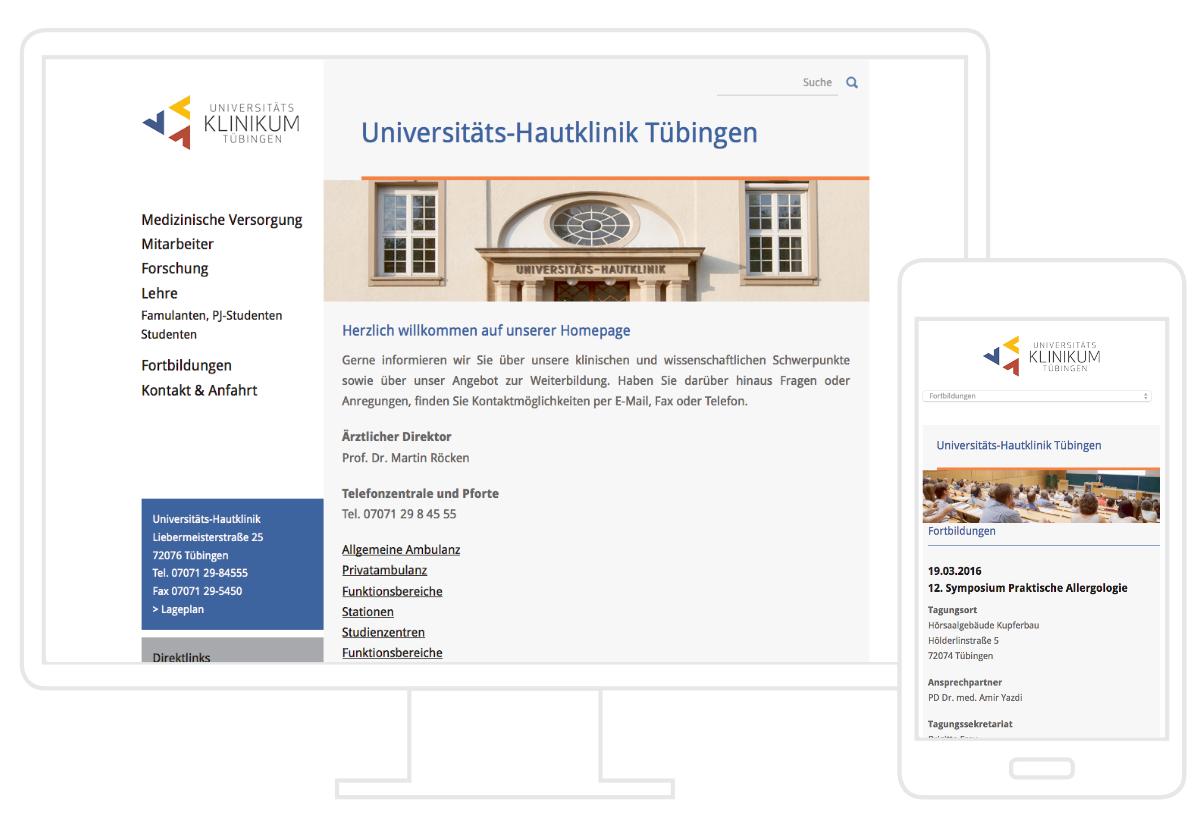Hautklinik Tübingen Website