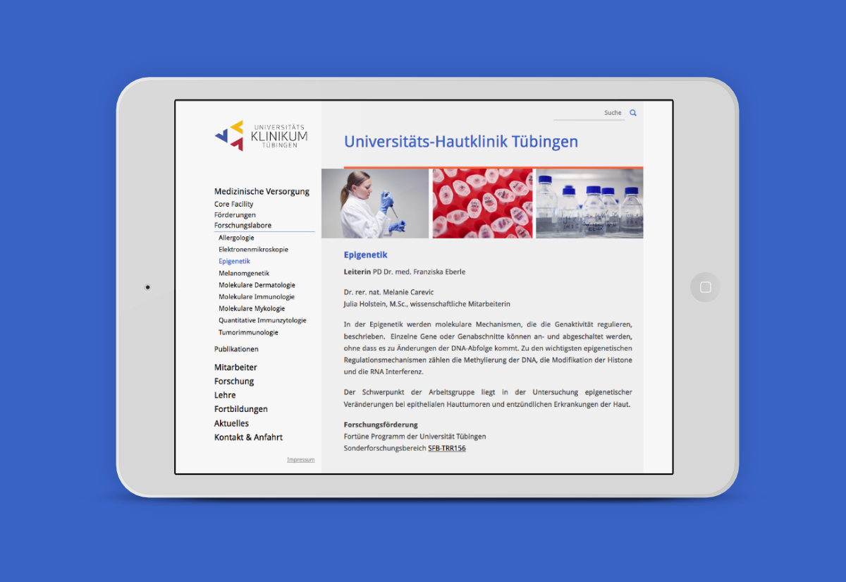 Hautklinik Website der UKT