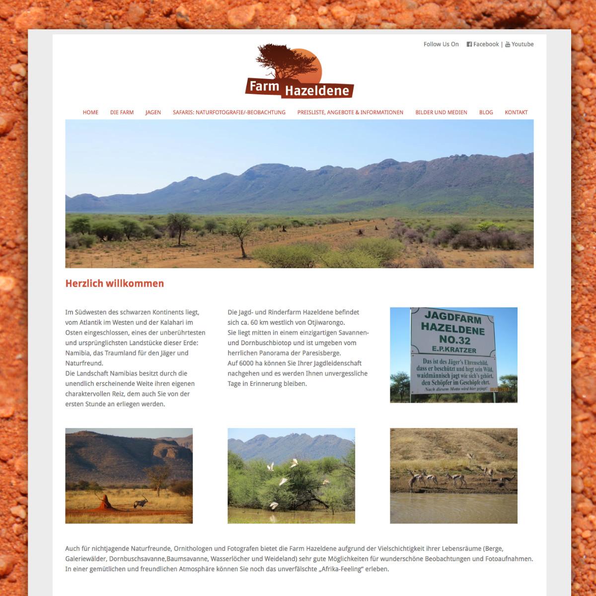 Website für Farm Hazeldene in Namibia