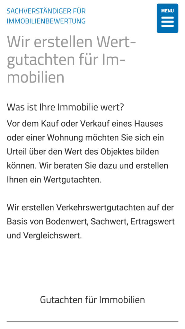 Immobilienbewertung Tübingen mobile Website