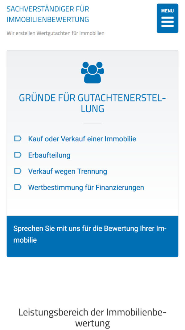 Responsive Webdesign für Immobilienbewertung Tübingen