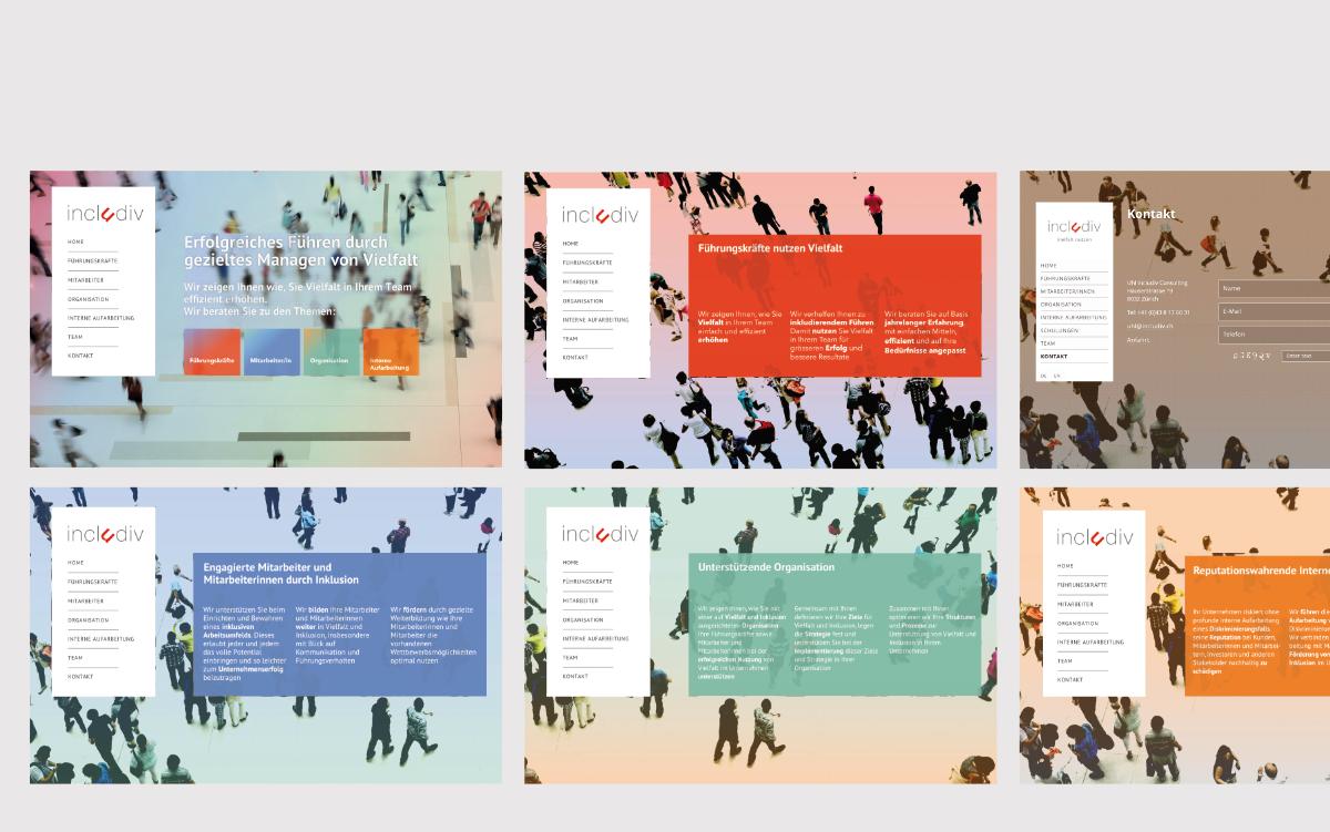 includiv Webdesign Farbspektrum