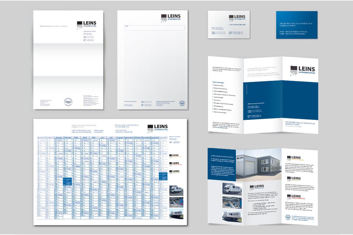 Corporate Design und Geschäftsausstattung für LEINS Aktenvernichtung