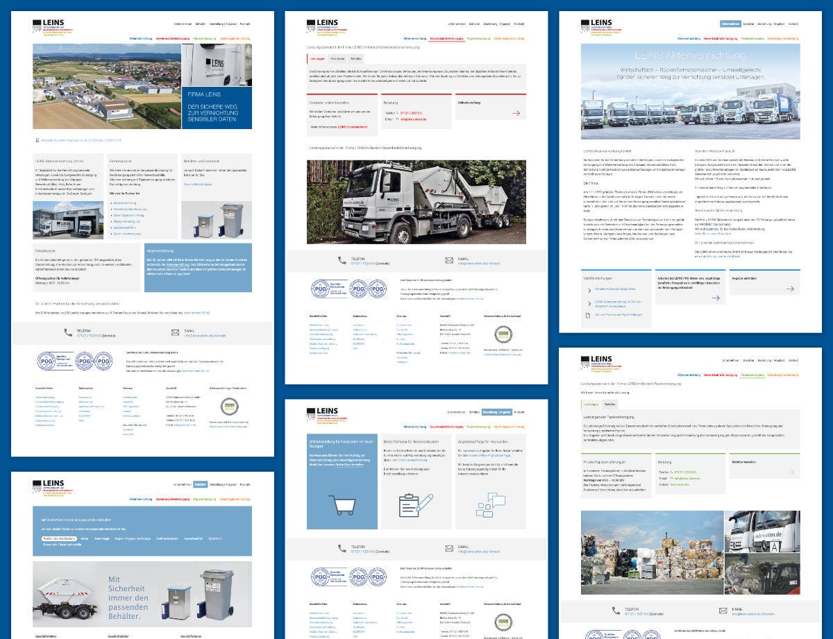 Webdesign Firmenwebsite Leins Aktenvernichtung