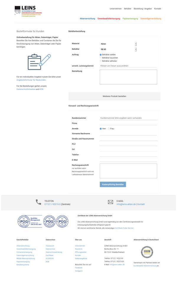 Formulargestaltung Leins Aktenvernichtung