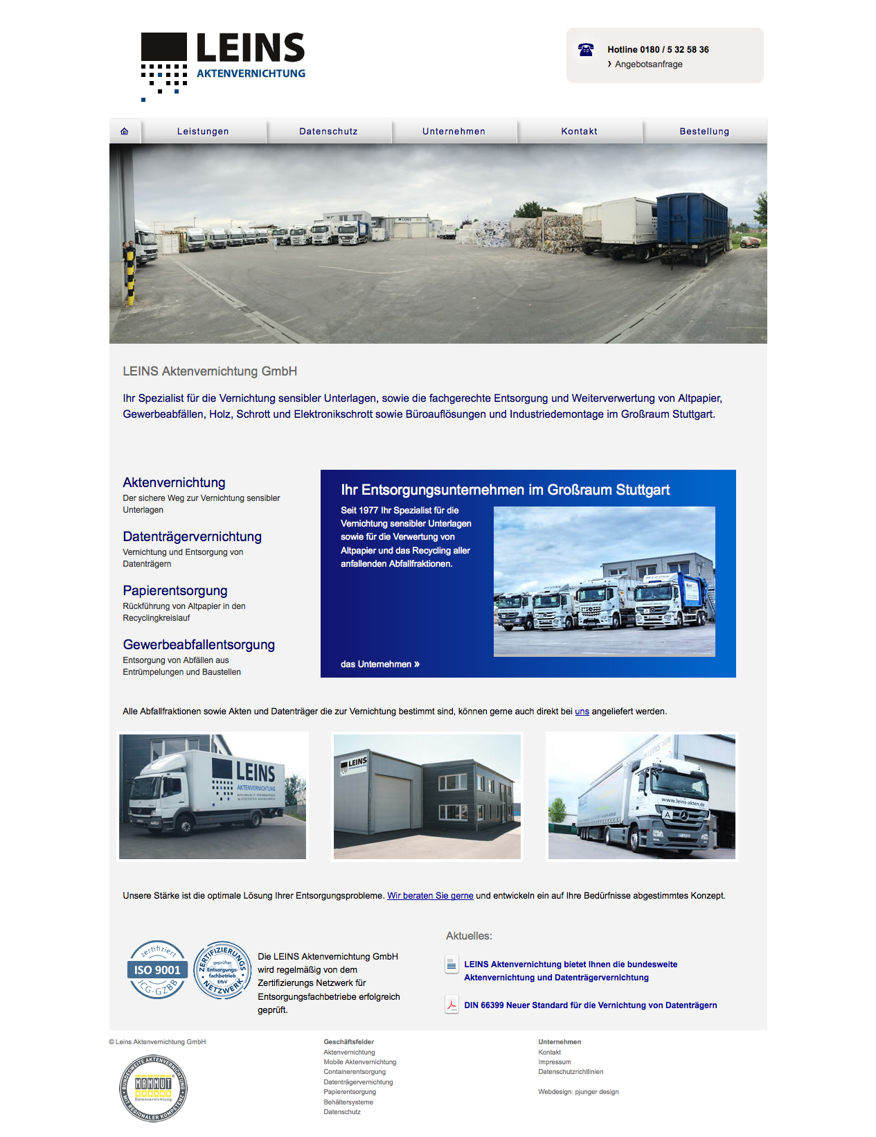 LEINS Aktenvernichtung Website