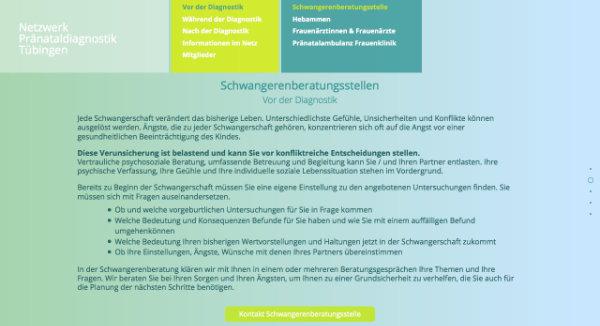 Website Netzwerk für Pränataldiagnostik