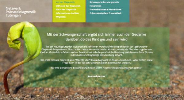 Netzwerk für Pränataldiagnostik Tübingen Website