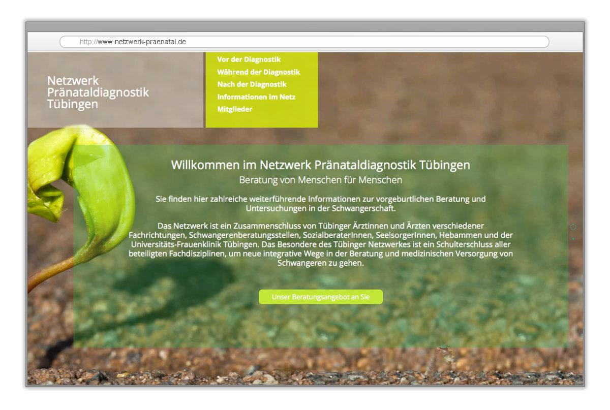 Webdesign für das Netzwerk für Pränataldiagnostik Tübingen