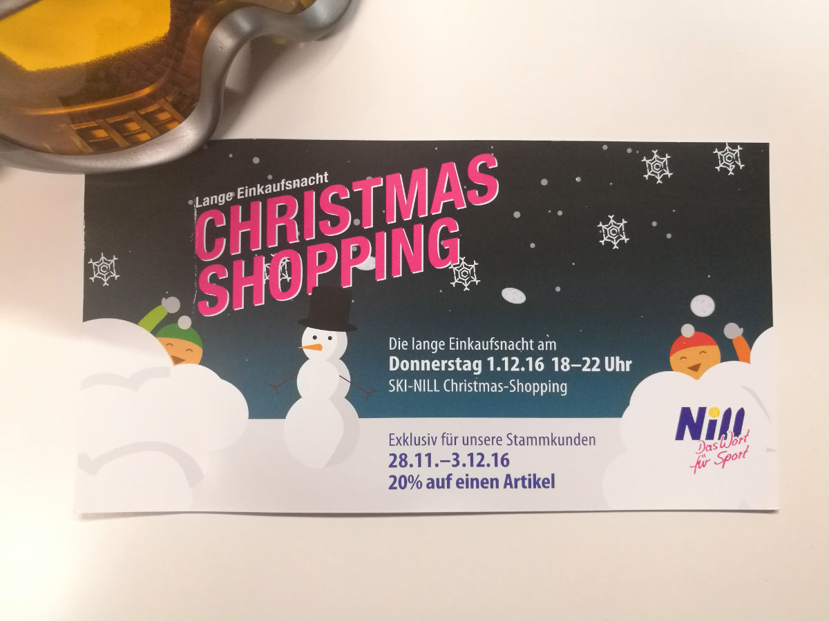 Illustration und Mailingdesign Christmas Shopping Ski Nill
