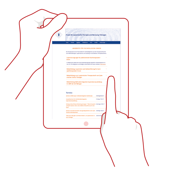Auf dem Tablet bietet die Website ausreichend große Bedienflächen