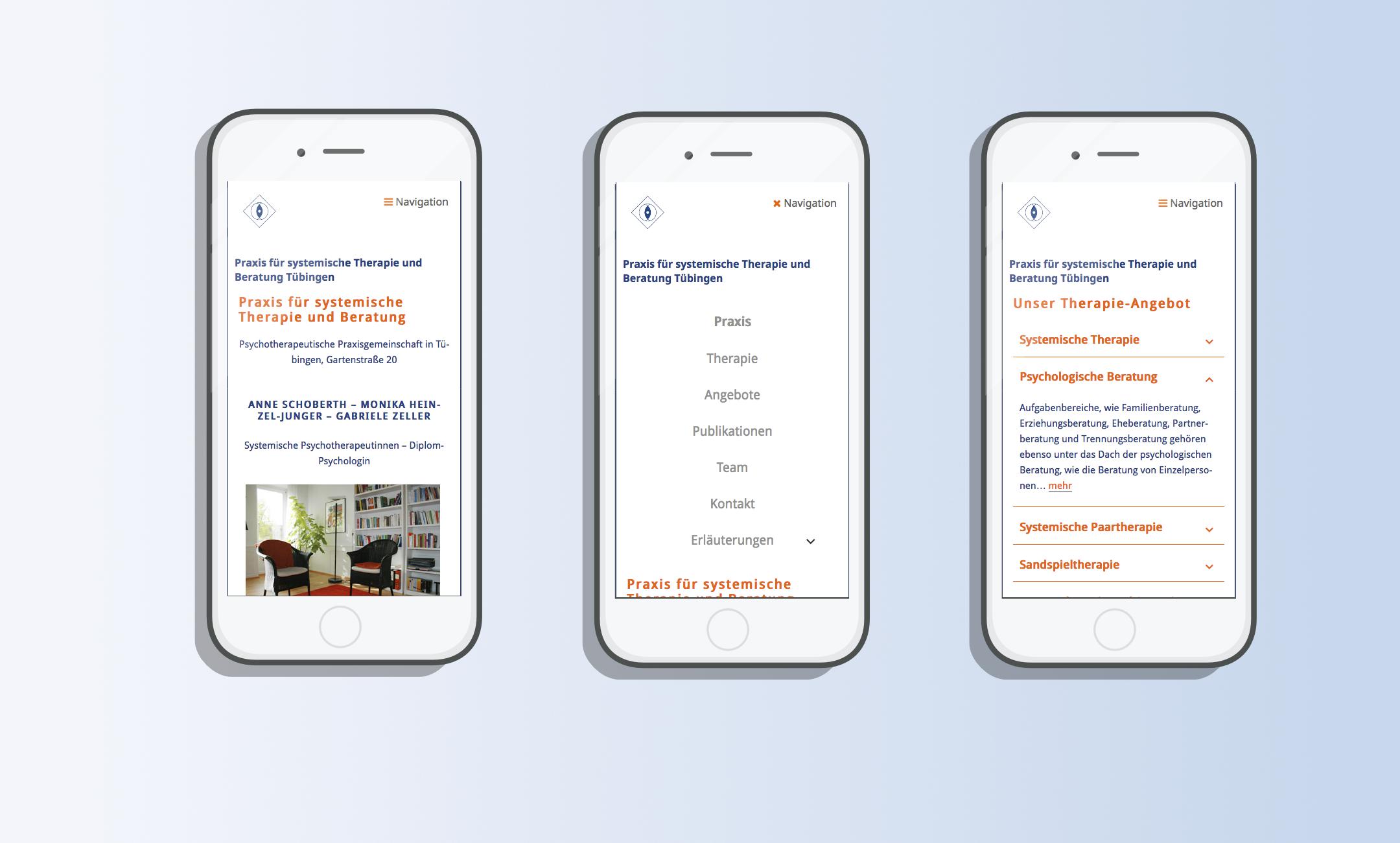 Webdesign für Therapiepraxis für Smartphones