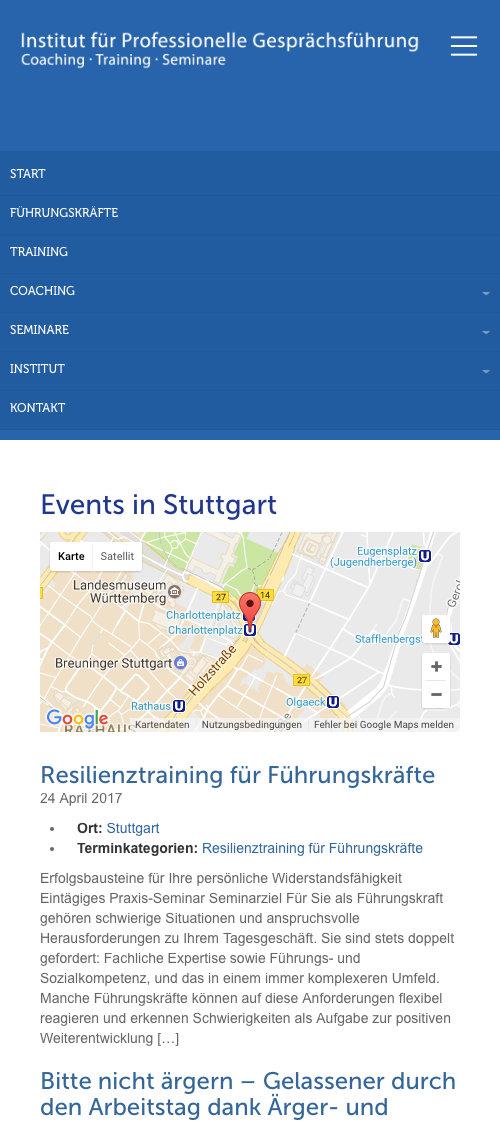 Mobile Website Institut Professionelle Gesprächsführung Tübingen