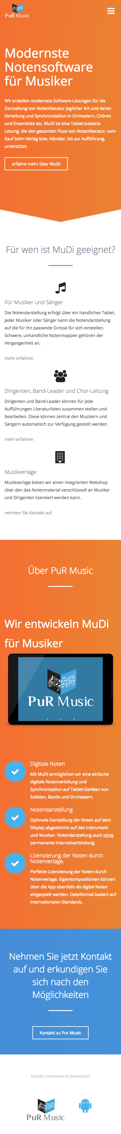 PuR Music mobile Website