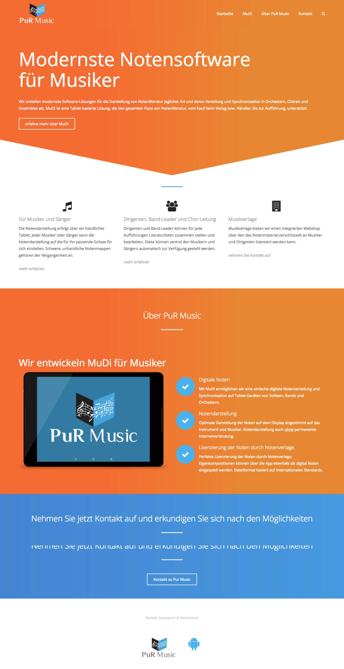 Webdesign und WordPress-Programmierung für PuR Music