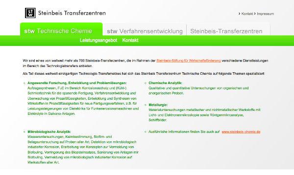 Webdesign - Steinbeis Technische Chemie