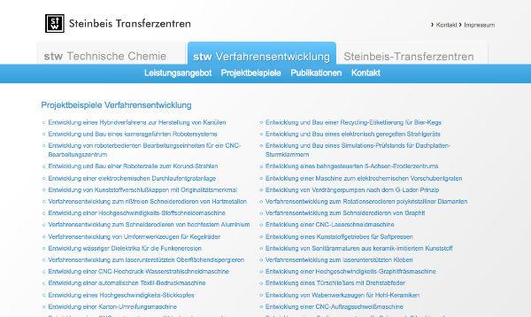 Webdesign - Steinbeis Verfahrensentwicklung in Reutlingen