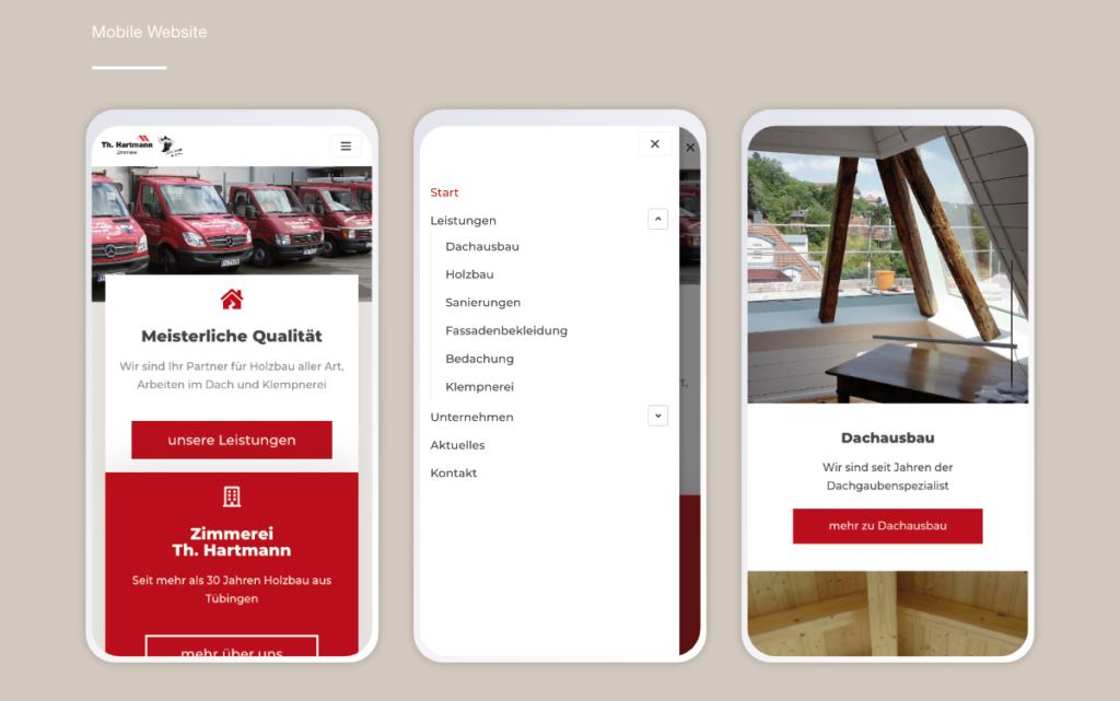 Responsive Webdesign für die Zimmerei Hartmann Tübingen
